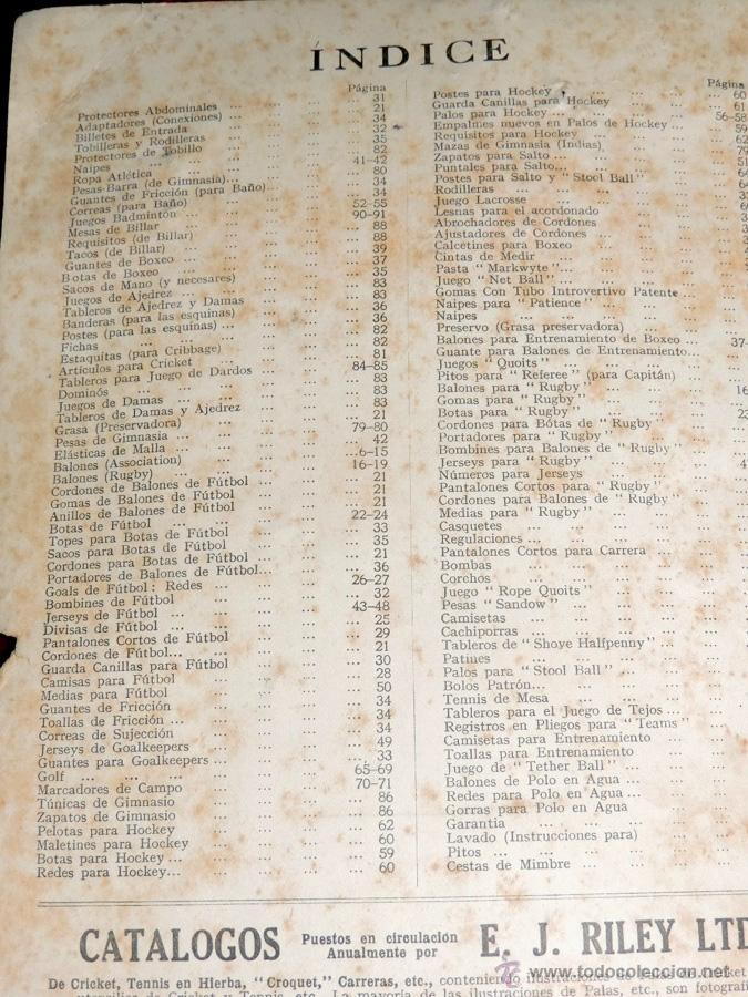 Coleccionismo deportivo: EXCEPCIONAL CATALOGO E.J. RILEY LTD. 1930 - 31, FUTBOL, HOCKEY, BOXEO GOLF BADMINTON, BILLAR, GIMNAS - Foto 2 - 40852006
