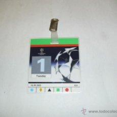 Coleccionismo deportivo: PASE / ACREDITACION ESTADIO SANTIAGO BERNABEU - REAL MADRID 4 O.MARSELLA 2 CHAMPIONS LEAGUE 03-04. Lote 41033428