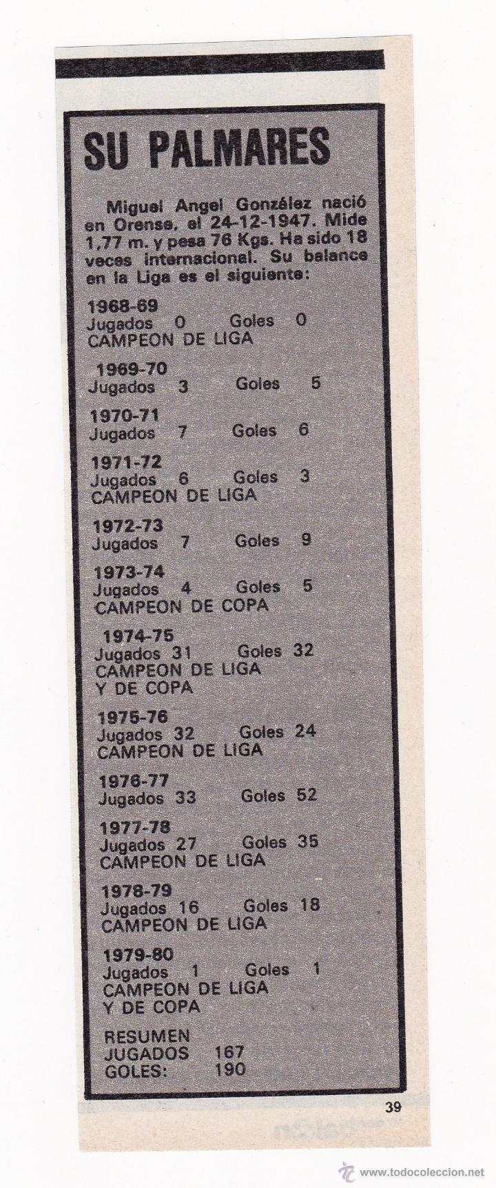 RECORTE TAMAÑO 6.5 X 20 CM - MIGUEL ANGEL PORTERO REAL MADRID CF PALMARES (Coleccionismo Deportivo - Documentos de Deportes - Otros)