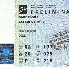 Coleccionismo deportivo: ENTRADA - OLIMPIADAS BARCELONA 1992 - PRELIMINAR DE ATLETISMO - ESTADIO OLIMPICO. Lote 41442460