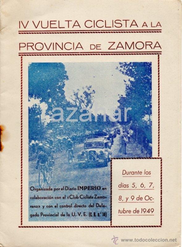 PROGRAMA DE LA IV VUELTA CICLISTA A LA PROVINCIA DE ZAMORA,1949, RARO (Coleccionismo Deportivo - Documentos de Deportes - Otros)