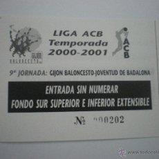 Coleccionismo deportivo: ENTRADA DE BALONCESTO GIJÓN BALONCESTO-JOVENTUT DE BADALONA-LIGA ACB-TEMPORADA 2000/2001-JORNADA 9. Lote 42060879