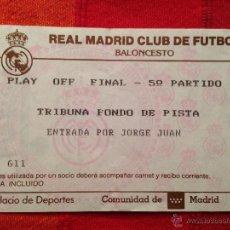 Coleccionismo deportivo: R651 ENTRADA TICKET BALONCESTO REAL MADRID JOVENTUT CAMPEON DE LIGA 1992 1993. Lote 42317264