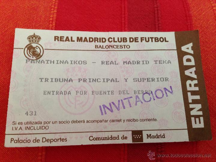 ENTRADA TICKET BALONCESTO REAL MADRID PANATHINAIKOS (Coleccionismo Deportivo - Documentos de Deportes - Otros)
