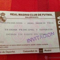 Coleccionismo deportivo: ENTRADA TICKET BALONCESTO REAL MADRID PANATHINAIKOS. Lote 42324111