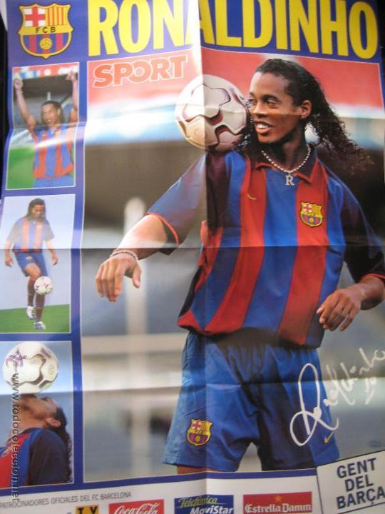 POSTER GIGANTE RONALDINHO (FC BARCELONA) - PRESENTACION AÑO 2003 - DIARIO SPORT (Coleccionismo Deportivo - Documentos de Deportes - Otros)