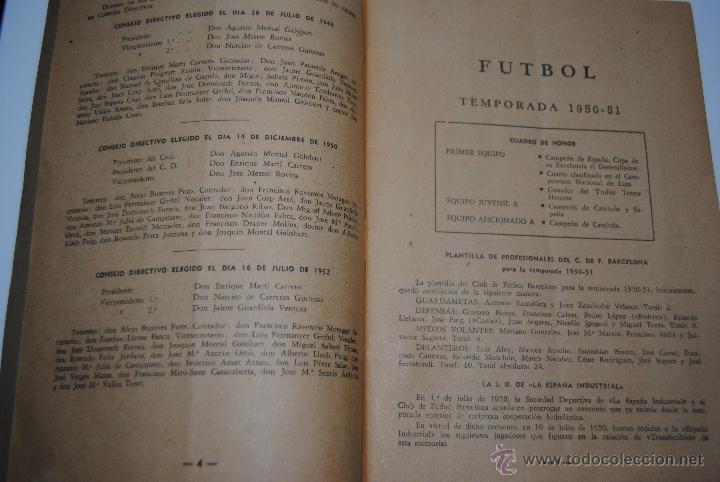 Coleccionismo deportivo: MEMORIA Y BALANCES GENERALES C.F.BARCELONA 1950-1951(62 PAGINAS) - Foto 7 - 42574371