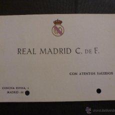 Coleccionismo deportivo: TARJETA ORIGINAL REAL MADRID. Lote 42896337