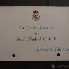 Coleccionismo deportivo: TARJETA ORIGINAL REAL MADRID. Lote 42896367