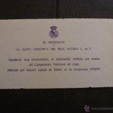Coleccionismo deportivo: TARJETA REAL MADRID ORIGINAL AÑOS 70. Lote 42896759