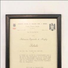 Coleccionismo deportivo: DOCUMENTO DEL PRESIDENTE DE LA FEDERACIÓN ESPAÑOLA DE RUGBY - CONVOCATORIA SELECCIÓN NACIONAL 1958. Lote 43325150