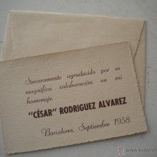 Coleccionismo deportivo: CARTA DE HOMENAJE A CESAR RODRIGUEZ 1958 FCB.. Lote 43524356