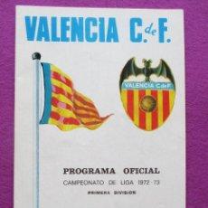 Coleccionismo deportivo: PROGRAMA DE FUTBOL, ATLETICO MADRID - VALENCIA C.F, CAMPEONATO LIGA 1972-73. Lote 43545358