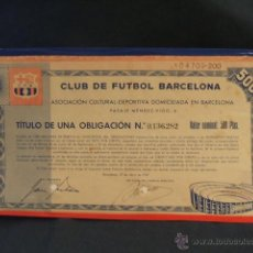 Coleccionismo deportivo: TITULO DE UNA OBLIGACION DEL C.F. BARCELONA - AÑO 1957 -. Lote 43570569