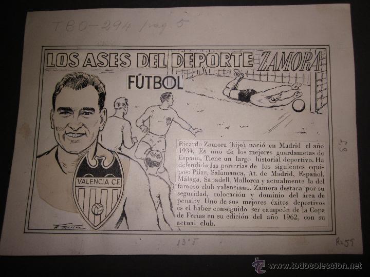 RICARDO ZAMORA HIJO -DIBUJO ORIGINAL AÑOS 60 CON REVERSO ILUMINADO COLOR- VER FOTOS TAMAÑO- (V-759) (Coleccionismo Deportivo - Documentos de Deportes - Otros)
