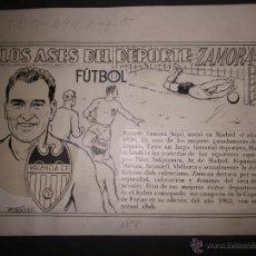 Coleccionismo deportivo: RICARDO ZAMORA HIJO -DIBUJO ORIGINAL AÑOS 60 CON REVERSO ILUMINADO COLOR- VER FOTOS TAMAÑO- (V-759). Lote 43773038