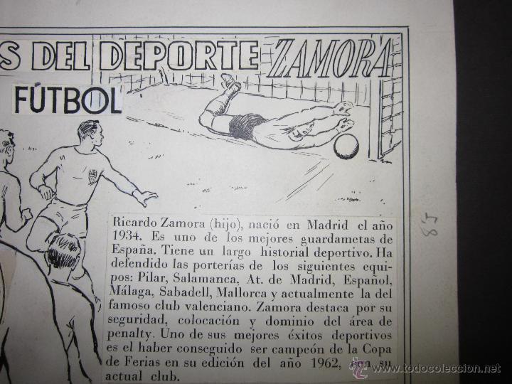 Coleccionismo deportivo: RICARDO ZAMORA HIJO -DIBUJO ORIGINAL AÑOS 60 CON REVERSO ILUMINADO COLOR- VER FOTOS TAMAÑO- (V-759) - Foto 3 - 43773038