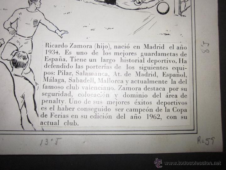 Coleccionismo deportivo: RICARDO ZAMORA HIJO -DIBUJO ORIGINAL AÑOS 60 CON REVERSO ILUMINADO COLOR- VER FOTOS TAMAÑO- (V-759) - Foto 4 - 43773038