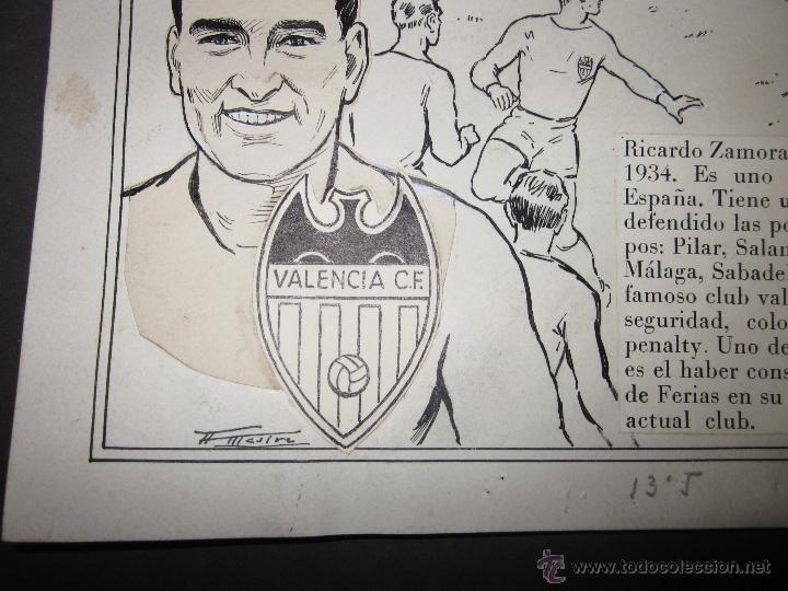 Coleccionismo deportivo: RICARDO ZAMORA HIJO -DIBUJO ORIGINAL AÑOS 60 CON REVERSO ILUMINADO COLOR- VER FOTOS TAMAÑO- (V-759) - Foto 5 - 43773038