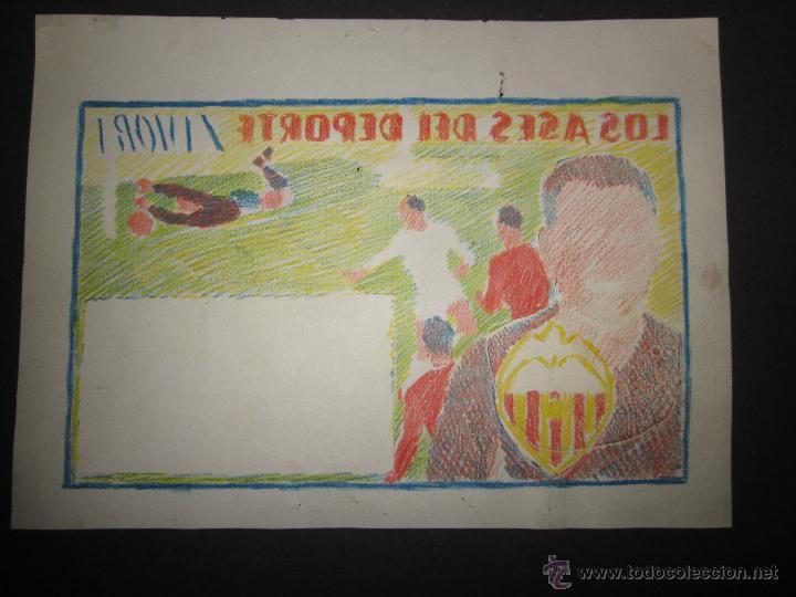 Coleccionismo deportivo: RICARDO ZAMORA HIJO -DIBUJO ORIGINAL AÑOS 60 CON REVERSO ILUMINADO COLOR- VER FOTOS TAMAÑO- (V-759) - Foto 6 - 43773038