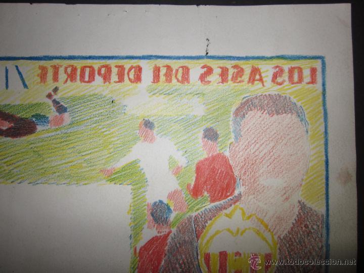 Coleccionismo deportivo: RICARDO ZAMORA HIJO -DIBUJO ORIGINAL AÑOS 60 CON REVERSO ILUMINADO COLOR- VER FOTOS TAMAÑO- (V-759) - Foto 8 - 43773038