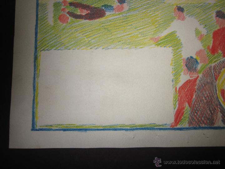 Coleccionismo deportivo: RICARDO ZAMORA HIJO -DIBUJO ORIGINAL AÑOS 60 CON REVERSO ILUMINADO COLOR- VER FOTOS TAMAÑO- (V-759) - Foto 9 - 43773038
