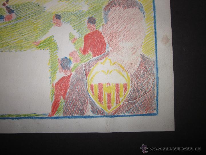 Coleccionismo deportivo: RICARDO ZAMORA HIJO -DIBUJO ORIGINAL AÑOS 60 CON REVERSO ILUMINADO COLOR- VER FOTOS TAMAÑO- (V-759) - Foto 10 - 43773038
