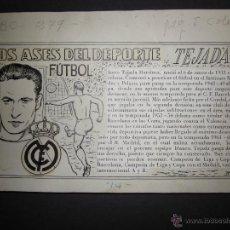 Coleccionismo deportivo: TEJADA - R. MADRID -DIBUJO ORIGINAL AÑOS 60 CON REVERSO ILUMINADO COLOR- VER FOTOS TAMAÑO- (V-760. Lote 43773953