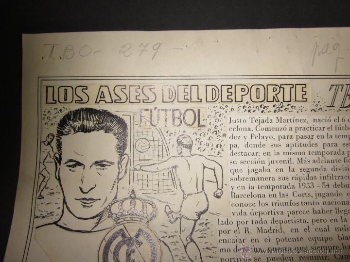 Coleccionismo deportivo: TEJADA - R. MADRID -DIBUJO ORIGINAL AÑOS 60 CON REVERSO ILUMINADO COLOR- VER FOTOS TAMAÑO- (V-760 - Foto 2 - 43773953