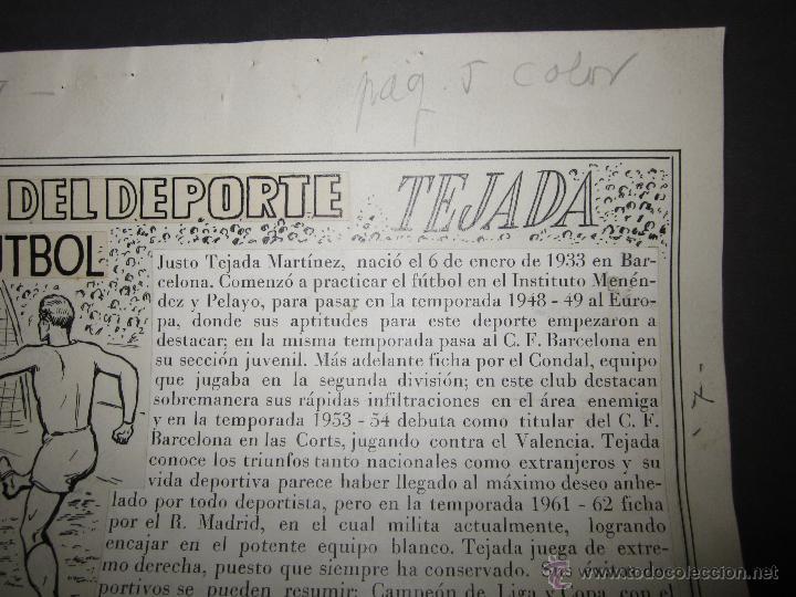 Coleccionismo deportivo: TEJADA - R. MADRID -DIBUJO ORIGINAL AÑOS 60 CON REVERSO ILUMINADO COLOR- VER FOTOS TAMAÑO- (V-760 - Foto 3 - 43773953