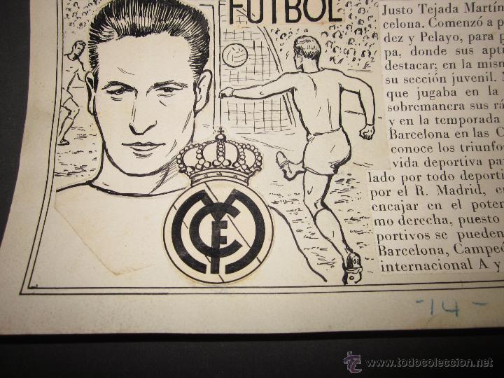 Coleccionismo deportivo: TEJADA - R. MADRID -DIBUJO ORIGINAL AÑOS 60 CON REVERSO ILUMINADO COLOR- VER FOTOS TAMAÑO- (V-760 - Foto 4 - 43773953