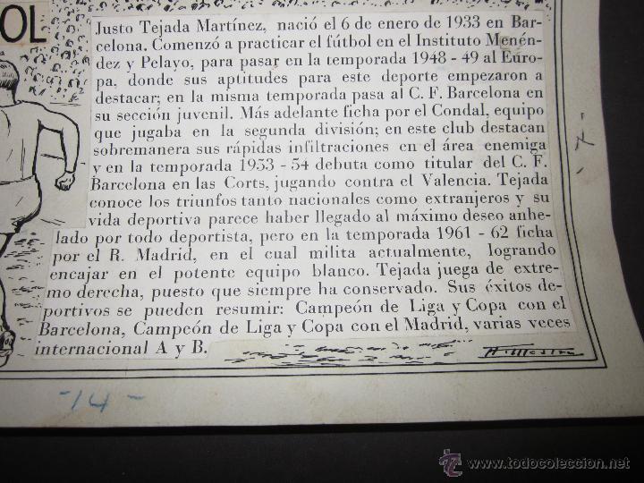 Coleccionismo deportivo: TEJADA - R. MADRID -DIBUJO ORIGINAL AÑOS 60 CON REVERSO ILUMINADO COLOR- VER FOTOS TAMAÑO- (V-760 - Foto 5 - 43773953