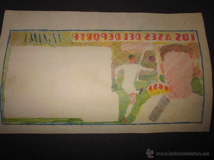 Coleccionismo deportivo: TEJADA - R. MADRID -DIBUJO ORIGINAL AÑOS 60 CON REVERSO ILUMINADO COLOR- VER FOTOS TAMAÑO- (V-760 - Foto 6 - 43773953