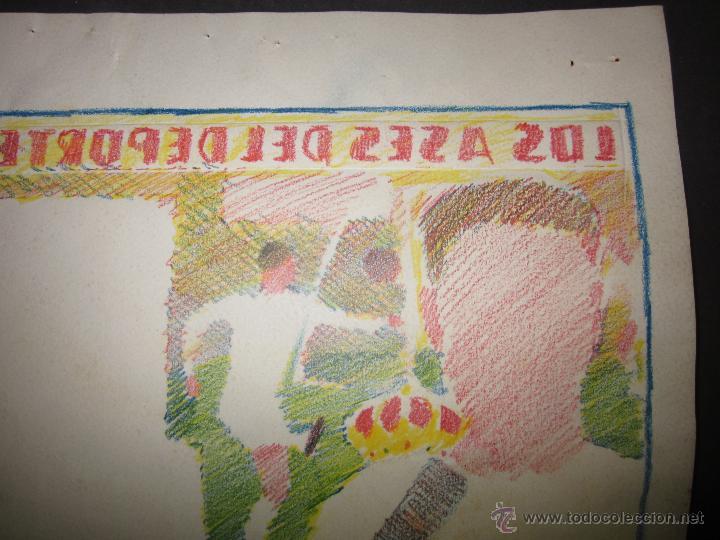 Coleccionismo deportivo: TEJADA - R. MADRID -DIBUJO ORIGINAL AÑOS 60 CON REVERSO ILUMINADO COLOR- VER FOTOS TAMAÑO- (V-760 - Foto 8 - 43773953