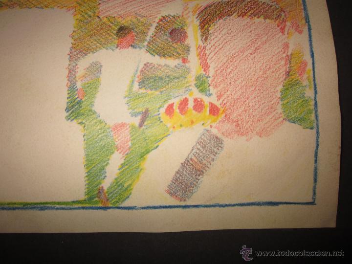 Coleccionismo deportivo: TEJADA - R. MADRID -DIBUJO ORIGINAL AÑOS 60 CON REVERSO ILUMINADO COLOR- VER FOTOS TAMAÑO- (V-760 - Foto 10 - 43773953