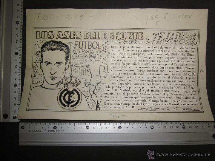 Coleccionismo deportivo: TEJADA - R. MADRID -DIBUJO ORIGINAL AÑOS 60 CON REVERSO ILUMINADO COLOR- VER FOTOS TAMAÑO- (V-760 - Foto 11 - 43773953