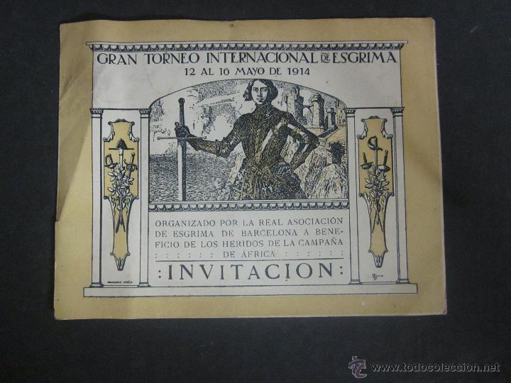 ESGRIMA - INVITACION TORNEO INTERNACIONAL AÑO 1914 A BENEFICIO HERIDOS GUERRA AFRICA-(V- 907) (Coleccionismo Deportivo - Documentos de Deportes - Otros)