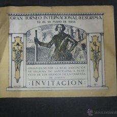Coleccionismo deportivo: ESGRIMA - INVITACION TORNEO INTERNACIONAL AÑO 1914 A BENEFICIO HERIDOS GUERRA AFRICA-(V- 907). Lote 44042129