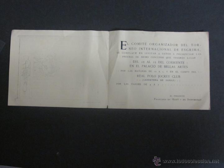 Coleccionismo deportivo: ESGRIMA - INVITACION TORNEO INTERNACIONAL AÑO 1914 A BENEFICIO HERIDOS GUERRA AFRICA-(V- 907) - Foto 2 - 44042129