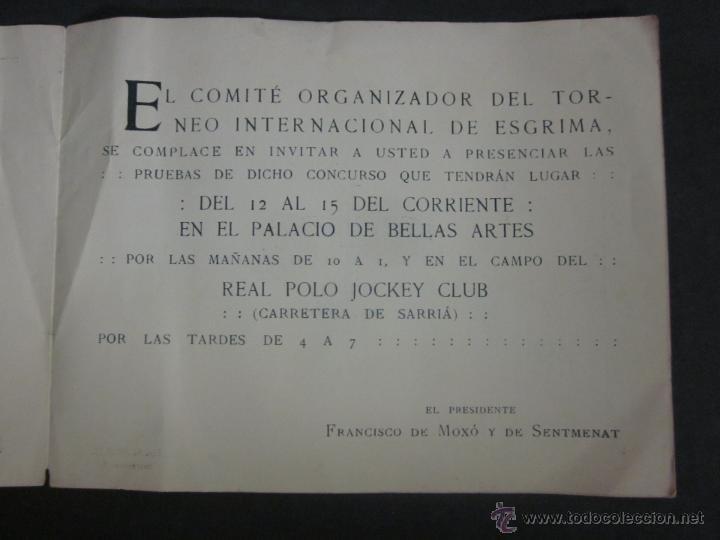 Coleccionismo deportivo: ESGRIMA - INVITACION TORNEO INTERNACIONAL AÑO 1914 A BENEFICIO HERIDOS GUERRA AFRICA-(V- 907) - Foto 3 - 44042129