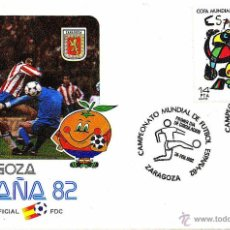 Coleccionismo deportivo: SOBRE SELLOS MUNDIAL FUTBOL ESPAÑA 82 OFICIAL SEDE ZARAGOZA. Lote 44331696