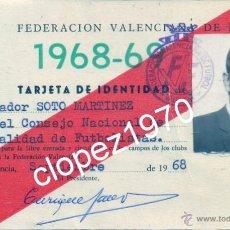 Coleccionismo deportivo: VALENCIA, 1968, CARNET FEDERACION VALENCIANA DE FUTBOL. Lote 44870658