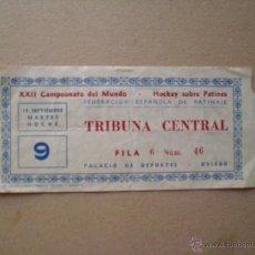 Coleccionismo deportivo: ENTRADA HOCKEY SOBRE PATINES CAMPEONATO DEL MUNDO . Lote 45268262