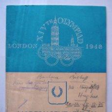 Coleccionismo deportivo: PROGRAMA OFICIAL PENTATLÓN MODERNO. JUEGOS OLÍMPICOS DE LONDRES. 1948. Lote 45350735