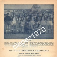 Coleccionismo deportivo: CLUB DEPORTIVO BADAJOZ, 1950, ORIGINAL DE EPOCA,195X265MM. Lote 45366701