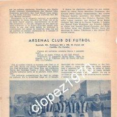 Coleccionismo deportivo: EL FERROL DEL CAUDILLO, ARSENAL CLUB DE FUTBOL, 1950, ORIGINAL DE EPOCA,195X265MM. Lote 45386942
