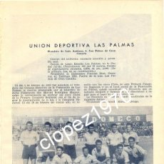 Coleccionismo deportivo: UNION DEPORTIVA LAS PALMAS, 1950, ORIGINAL DE EPOCA,195X265MM. Lote 45387044