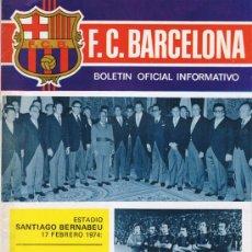 Coleccionismo deportivo: F.C.BARCELONA. BOLETIN OFICIAL INFORMATIVO Nº 37. MARZO 1974.R.MADRID 0- F.C.BARCELONA 5. Lote 54263491