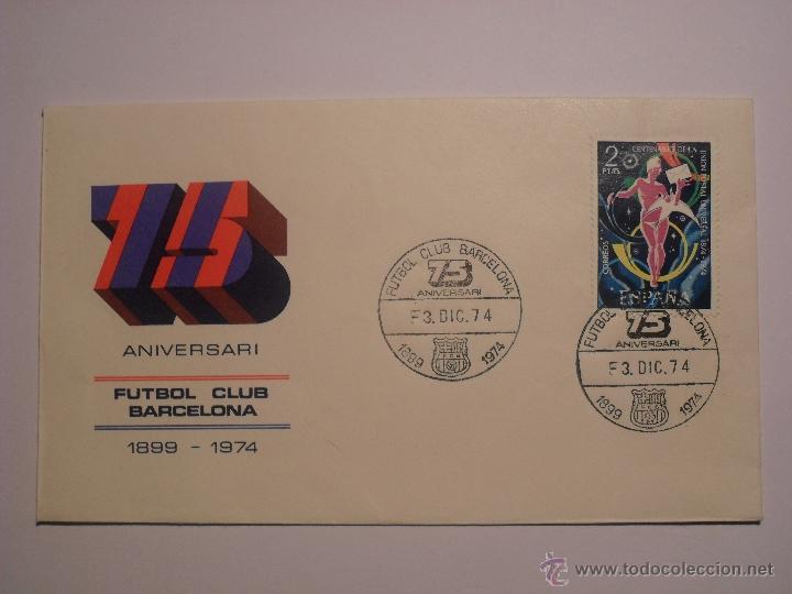 SOBRE DEL 75 ANIVERSARIO DEL FCB (Coleccionismo Deportivo - Documentos de Deportes - Otros)