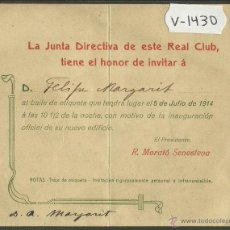 Coleccionismo deportivo: INVITACION BAILE DE ETIQUETA - REAL CLUB MARITIMO DE BARCELONA - 5 DE JULIO DEL 1914 - (V-1430). Lote 46155885